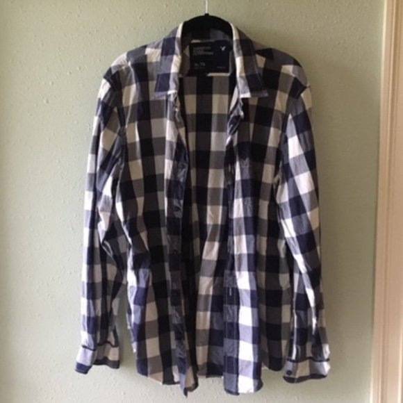 American Eagle Outfitters Blue & White Plaid Shirt